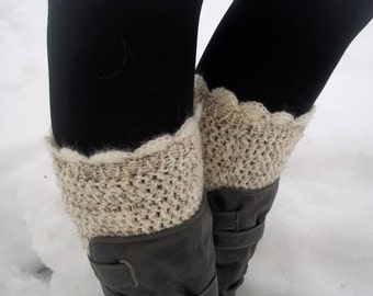 Off white laces boot cuffs in Wheat crochet Boot Cuffs Leg Warmers Boot warmers Boot Socks Boot Toppers High Wool leg warmers