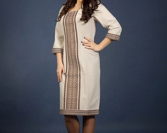 Vyshyvanka dress. Fashion embroidered dress. Ukrainian Women's dress. Ethnic embroidery vyshyvanka. Linen dress girl. Ukrainian modern dress