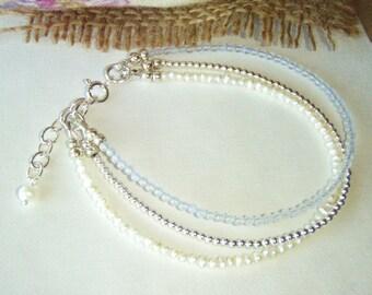 Chalcedony bracelet, layering, multi strand bracelet, friendship bracelet, sterling silver jewelry