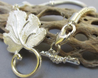 European Charm Bracelet Chain with Large Leaf Toggle Clasp For All European Bead Brands - All Sizes Available