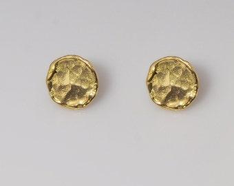 Gold Stud Earrings, Hammered Gold Stud Earrings, Gold post earrings, Dainty Gold Earrings, simple gold earrings