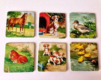 Vintage Jumbo Memory Animal  Playing Cards/ Set of 6 / No 6