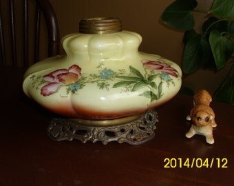 Antique Golden Yellow Hand Painted Tulips Glass Boudoir/Hurricane/Gone With the Wind Oil Lamp Base