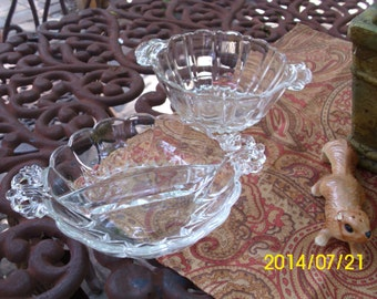 Lovely Vintage Fostoria Clear Glass Serving/Candy Bowls/Dishes-Divided/Fancy Handles Design
