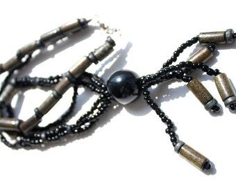 Wooden Pendant Meeting. Handmade wooden jewelry. Black Pendant