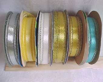 Vintage Lacy Edge Ribbon - 1960s Bow Making Ribbon - 7 Satin and Metallic Netted Lace - Assorted Colors, Gold, Silver, Pink, Turq, White