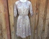 Vintage Floral Knee-Length Dress - Size Small (Petite)
