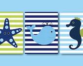 Baby Boy Nursery Art Nursery Wall Art Kids Room Decor Kids Art Whale Nursery Starfish Nursery Seahorse Nursery set of 3 8x10 Green Blue Navy