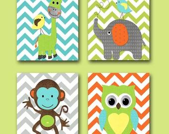 Baby Boy Nursery Art Print Children Wall Art Baby Room Decor Monkey Nursery Owl Nursery Giraffe Nursery Elephant Nursery Set of 4 Pint