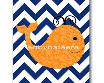 Sea Nursery Whale Nursery Baby Boy Nursery Decor Kids Wall Art Baby nursery print children art print Nursery Print Boy Art orange blue