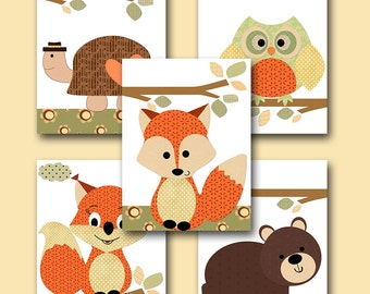 Kid Wall Art Turtle Nursery Bear Nursery Squirrel Nursery Owl Nursery Fox Nursery Baby Girl Nursery Art Baby Room Decor set of 5 Orange