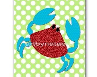 Crab Nursery Art Print Childrens Wall Art Baby Boy Nursery Art Kids Art Kids Print Nursery Decor Boy Baby Wall Art 8x10 Red Blue Green