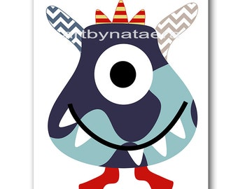 Nursery Print Kids Wall Art Monster Nursery Childrens Art Print Kids Art Baby Boy Nursery Art Kids Room Decor Boy Art Red Blue Navy