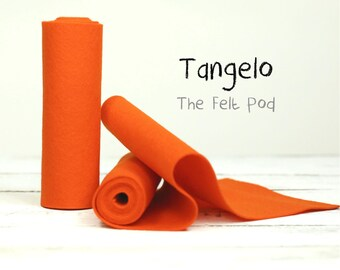 "100 Percent Wool Felt Roll - Wool Felt color TANGELO - 5"" X 36"" Wool Felt - Orange Wool Felt"
