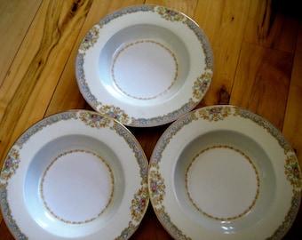 NoritakeSoup Salad Bowls, Vintage Noritake, Ornate china bowls, Set of three, Great