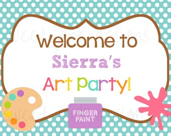 Art Party, Art Printable, Welcome Sign, Art Party Welcome Sign, DIY, art party printable, art, Birthday Sign
