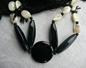 RESERVED FOR LORENZA: Vintage Necklace -Stunning Onyx Necklace -Woman's Choker -Black And White -Polished Black Onyx - Sterling Silver Clasp