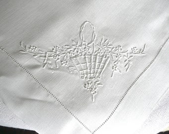 Antique Embroidered Linen - White Embroidered Tablecloth - Small Cotton Cloth - Whitework Hand Embroidery - Antique Linens -