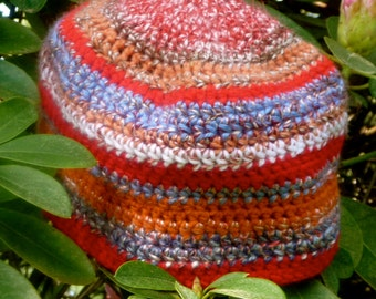 Signature collection beanie hat dual yarn stitch in shades of orange, blue white red
