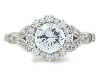 Floral Style Engagement Ring Diamond Halo Setting Moissanite Center Stone Lilly