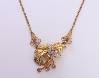 Vintage 1950's 12K Gold Filled Floral Spray Necklace with Pink and White Rhinestones