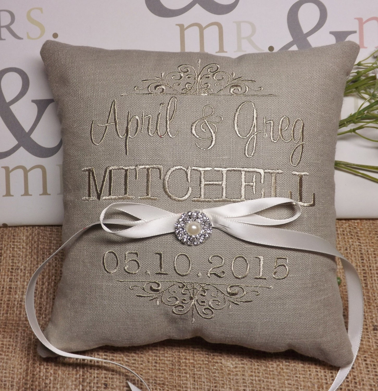 Monogram Wedding Ring Bearer Pillow: Ring Bearer Pillow Embroidered Ring Bearer Pillow Custom