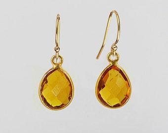 Citrine Earrings - Gemstone Earrings - Tear drop earrings - bezel set earrings - citrine jewelry - gold earrings - dangle earrings