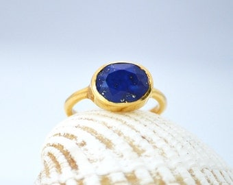 Oval Lapis Ring - September Birthstone Ring - Gemstone Ring - Stacking Ring - Gold Ring - Oval bezel Ring - mothers Day gift for her