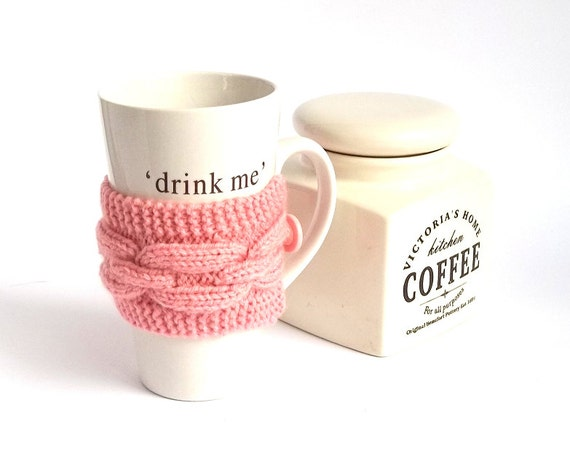 SALE! Knit Coffee Cozy. Knitted Pink Mug Cozy. Hand Knit Tea Cup Cozy. Pink Romantic Knit Cozy.