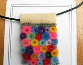 Handmade Colorful Felt Pendant with seed beads on the black leather necklace cord