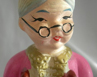 Knitting Old Woman Granny Still Bank - Signed OUR OWN IMPORT Japan - Vintage Circa 1960s