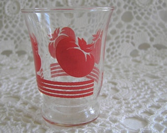 Red Tomato Juice Glass Cup, Retro Red Kitchen, 1930's Glassware, Cottage Chic