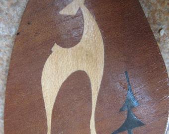 Handmade African Brooch Vintage Retro Animal Pin Wooden Wood Inlay Animal motif Souvenir Stylized Giraffe