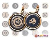 NAUTICAL EARRINGS - 15mm, 13mm, 18mm size Printable Digital Download for earrings, cuff links, bezel settings, pendants, rings