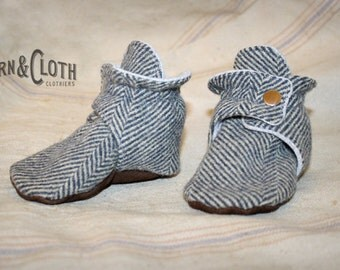 Handmade Wool and Leather Baby Booties -Organic Sherpa lined