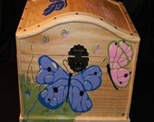 Girl's Dress Up Trunk Hand Painted Purple, Pink, and Green Butterfly Trunk - Wooden Box, Keepsake Box, Toy Chest, Dress-Up Trunk