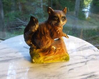 Vintage Raccoon Figurine, Ceramic - 1940s