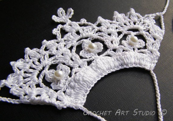 Crocheting Videos Slipknot : Items similar to Slipknot Thongs. lace Crochet Crown, Diadem, Tiara ...