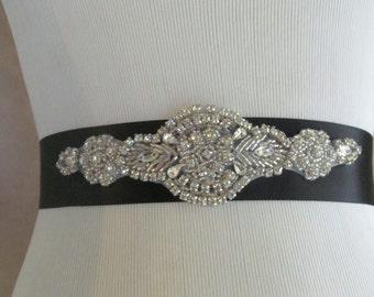 Bridal Sash / Rhinestone Bridesmaid Sash /  Ribbon Sash / The Regal Ribbon Sash