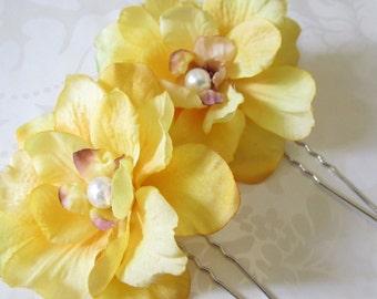 Silk hair flower / Yellow Hair Flower / Tropical Hair Flower / Bridal Hair Flower 2pc Set