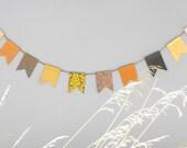 Fall Banner-Paper Bunting-Autumn Banner-Fall Decor-Modern Garland-Handmade Paper Garland-Copper, Gold, Brown, Ivory