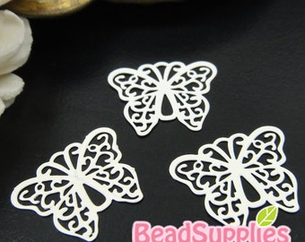 CH-ME-10136A - Color enameled,  Filigree butterfly computer-cut plate, off white, 4 pcs