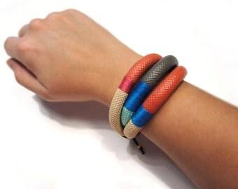 Triple dip dye rope bracelet