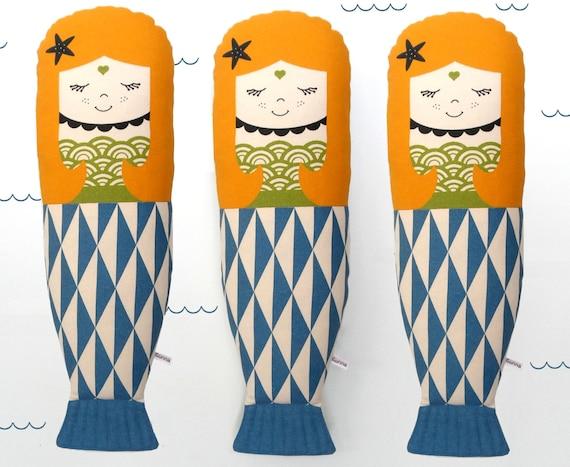 Scandinavian mermaid Retro Rag doll mini cushion geo sea
