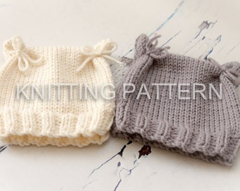 Knitting Pattern/DIY Instructions - Cat Ears Baby Beanie Hat - Easy to Knit!