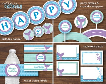 Mermaid Birthday Party Decorations, Printable Mermaid Party Decor, INSTANT DOWNLOAD, digital file