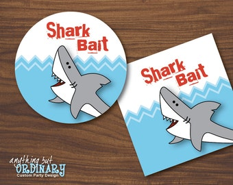 Shark Bait Favor Tags, DIY Circle Labels, INSTANT DOWNLOAD, digital printable file