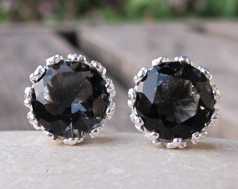 Studs- Quartz Studs-Topaz Studs-Stone Post Earrings-Gemstone Studs-Quartz Earrings-Silver Stud Earrings-Bezel Studs-Stone Studs