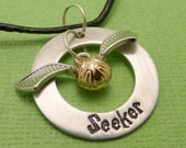 Harry Potter Inspired - Seeker - A Hand Stamped Washer Necklace in Aluminum or Copper