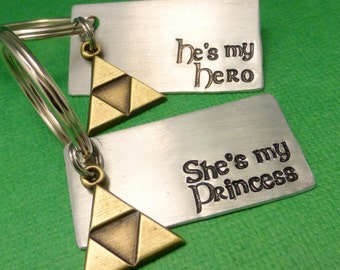 He's My Hero & She's My Princess - A Set of 2 Hand Stamped Keychains in Aluminum or Copper w/ Triforce Charm